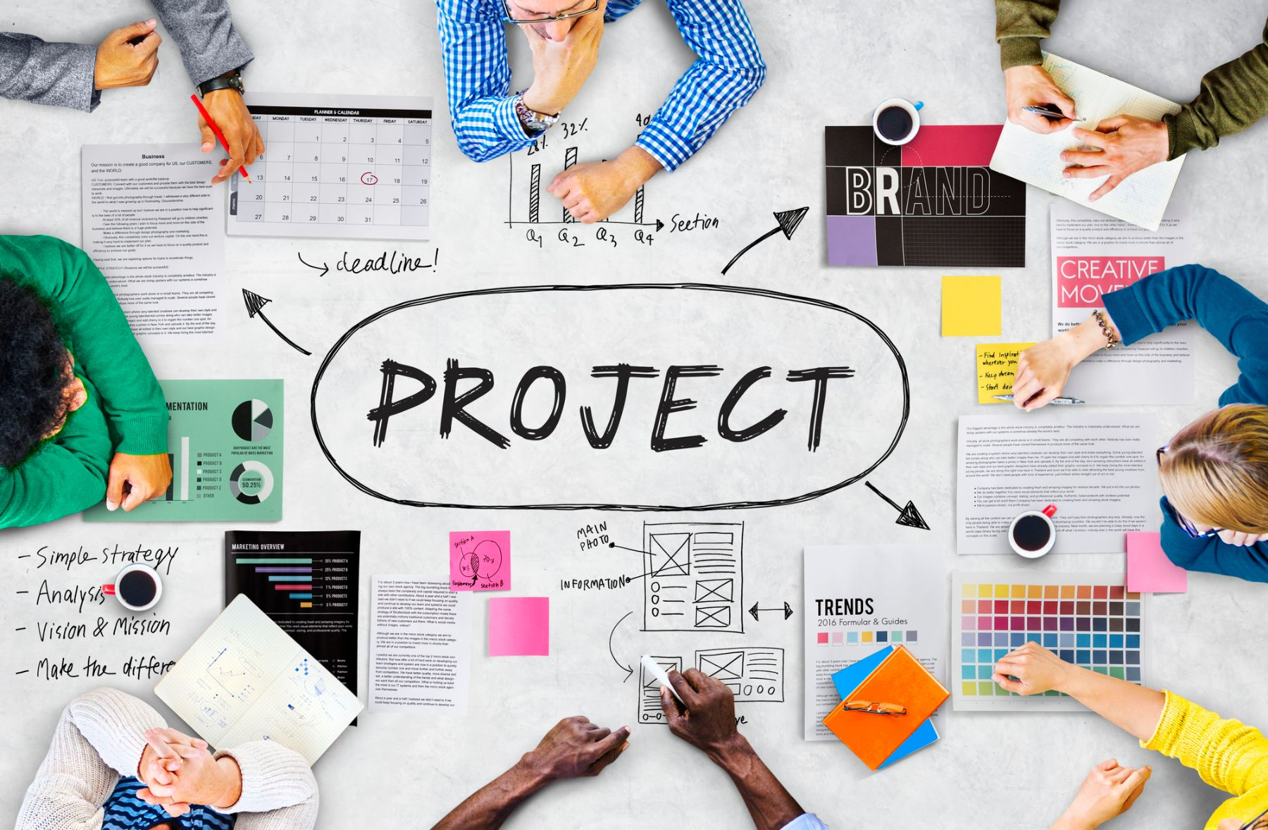 People discusing a project