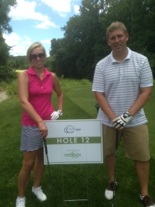 Carrie Cason and Derek Todd from City of Westfield Public Affairs. Hole 12 Sponsored by netlogx!