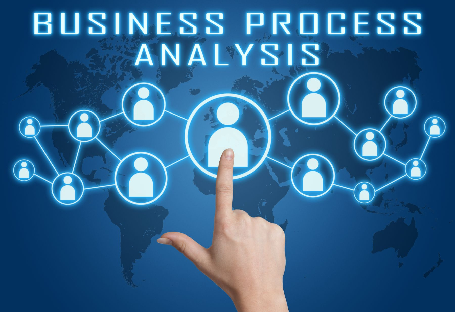 Finger pointing to icon on Business Process Analysis