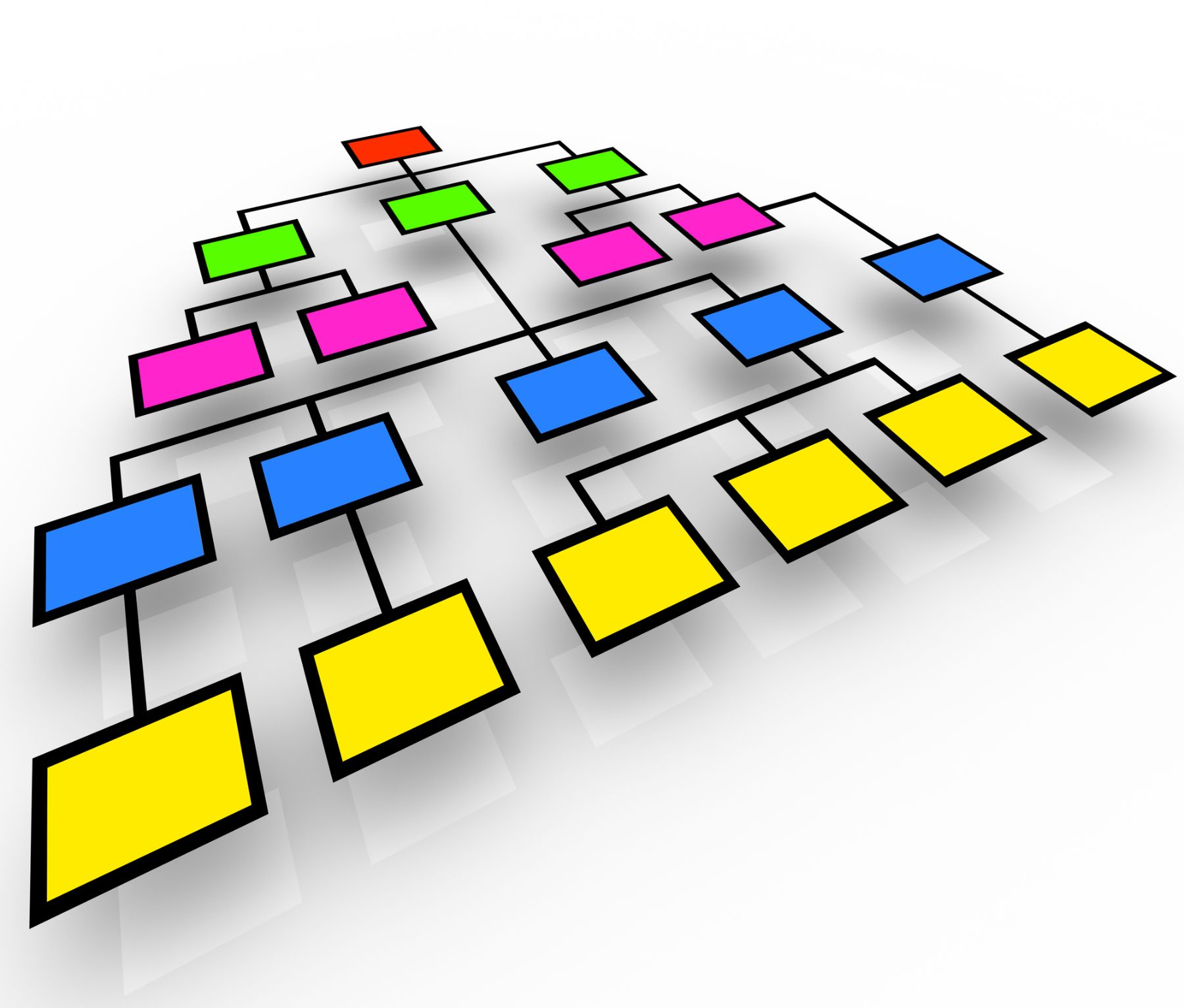 Organization chart with colored boxes