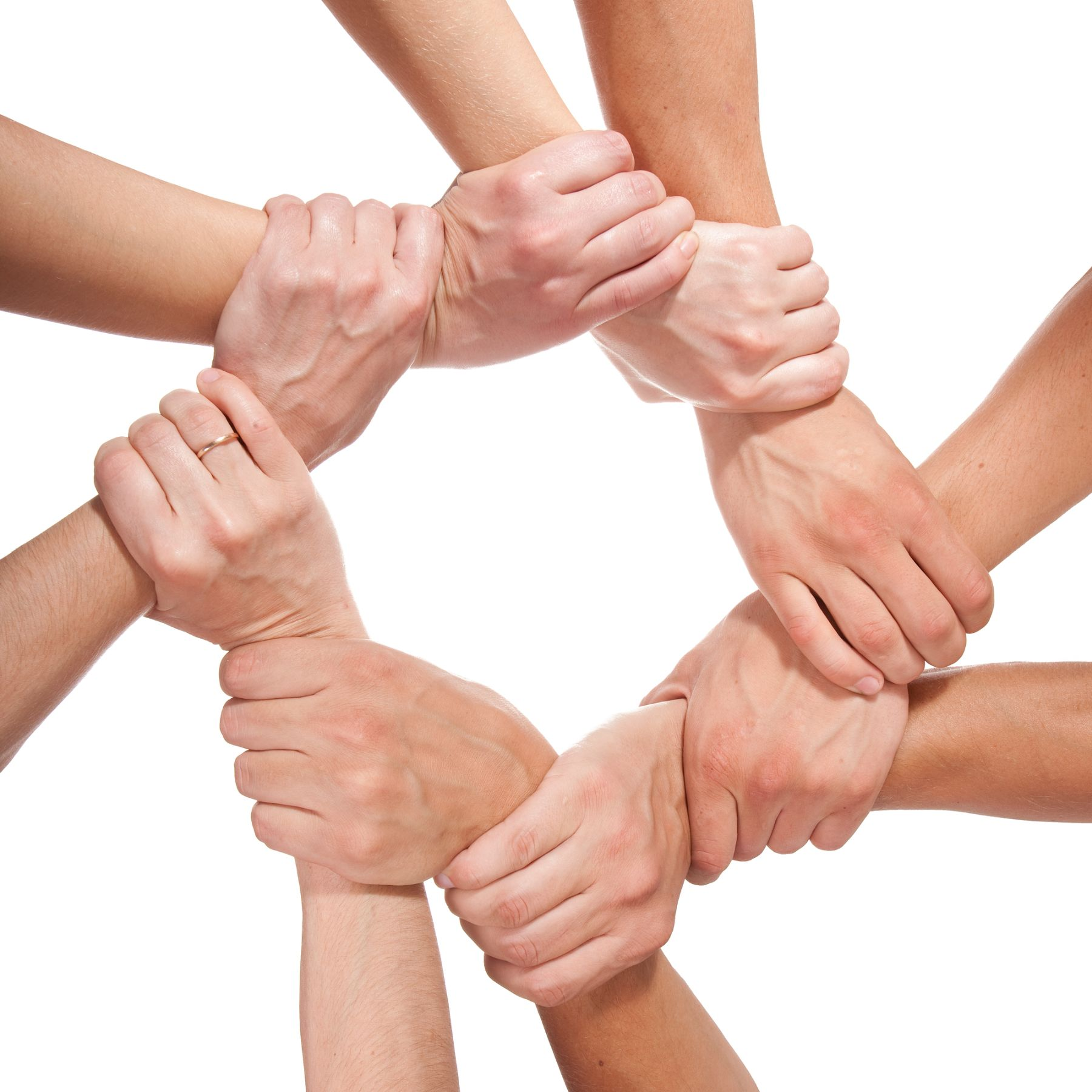 Circle of hands holding wrists