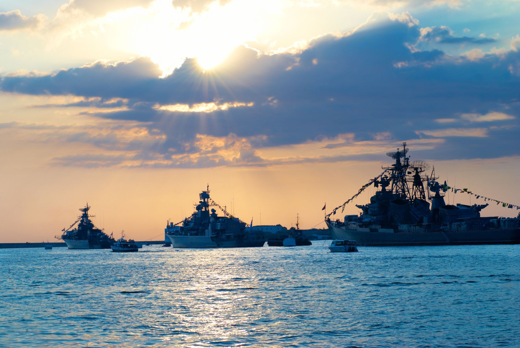 Naval ships on the ocean