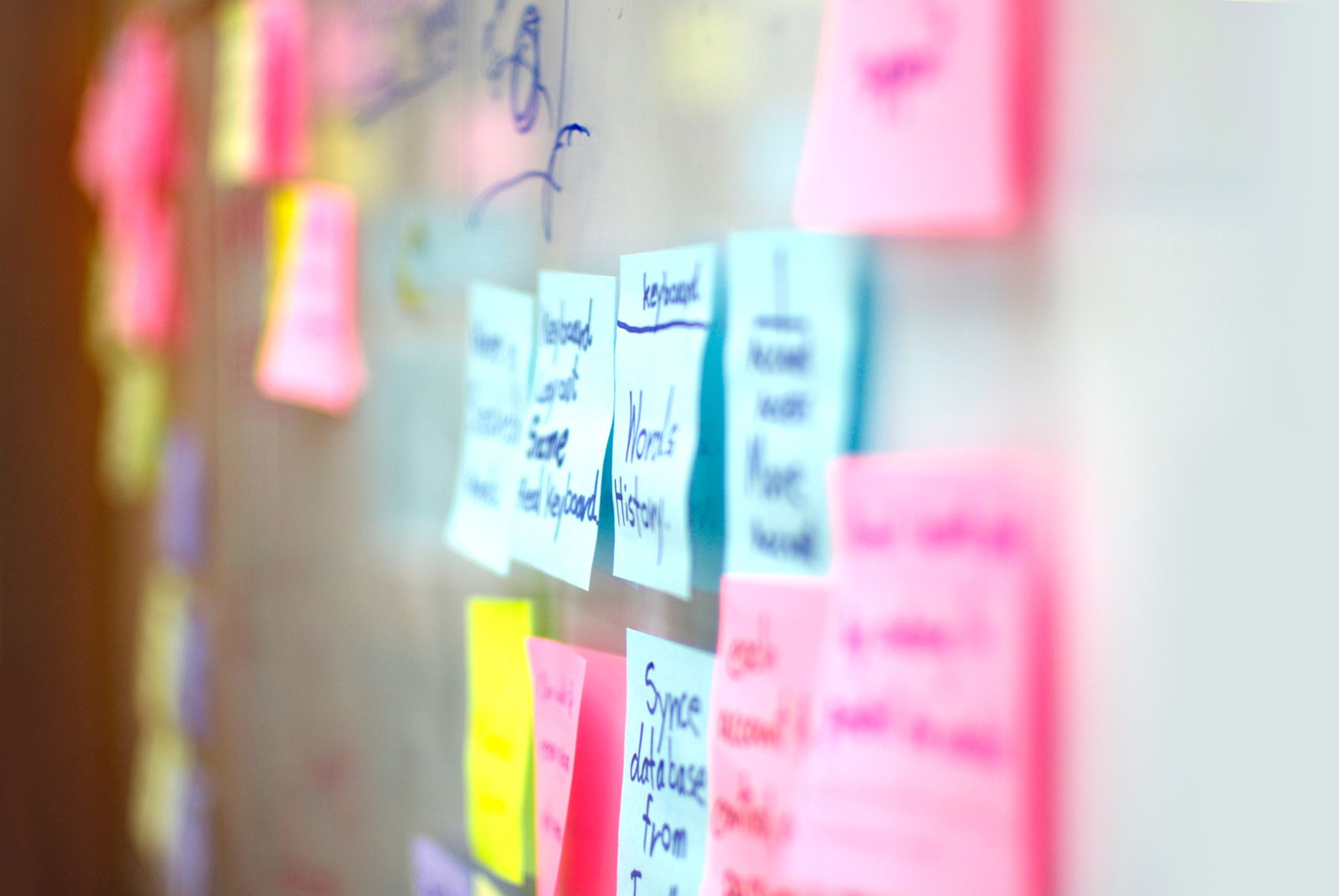 Post-it notes on a board